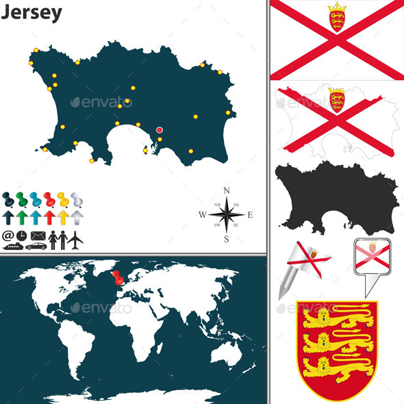 Map of Jersey - Travel Conceptual