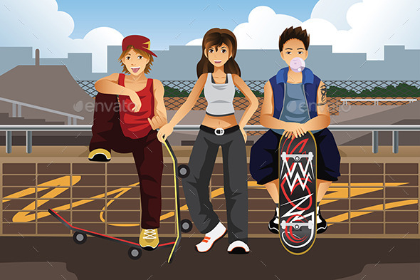 People with Skateboards  - Sports/Activity Conceptual