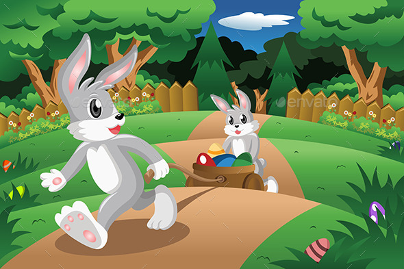 Rabbits with Easter Eggs  - Seasons/Holidays Conceptual