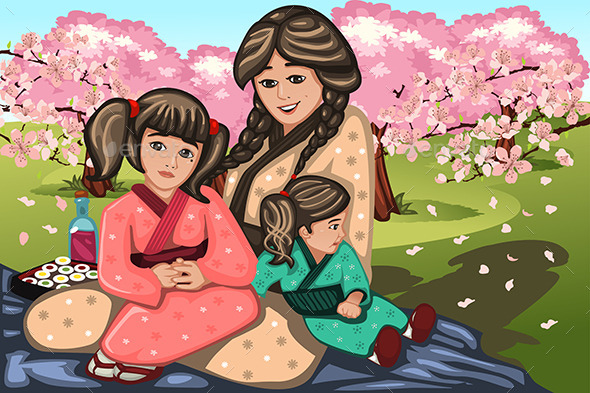 Japanese Woman and Her Children - People Characters