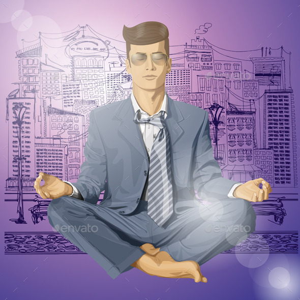 Hipster Businessman in Lotus Pose Meditating - People Characters
