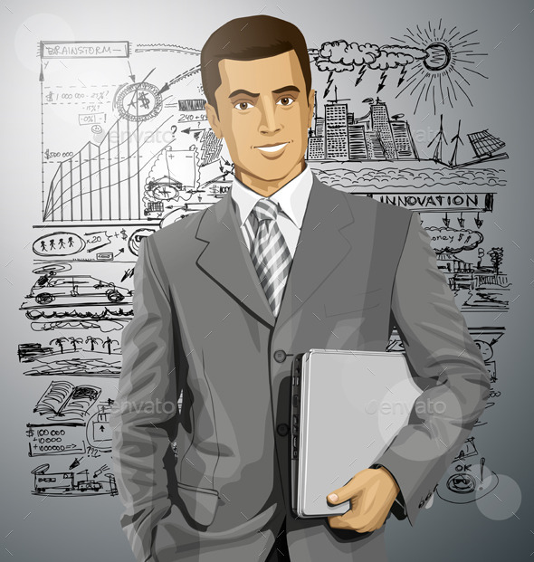 Vector Businessman With Laptop - Concepts Business