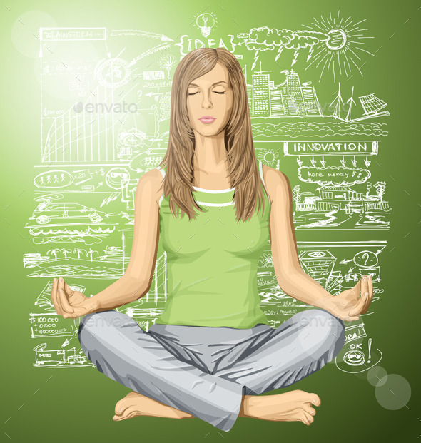 Woman Meditating in Lotus Pose - People Characters