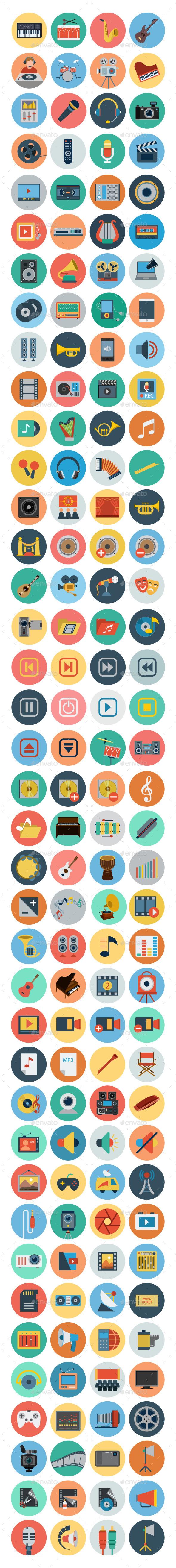 150+ Multimedia Flat Icons - Media Icons
