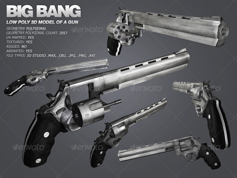 Big Bang - low poly model of a gun - 3DOcean Item for Sale