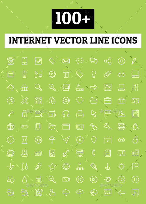 100+ Internet Vector Line Icons - Technology Icons