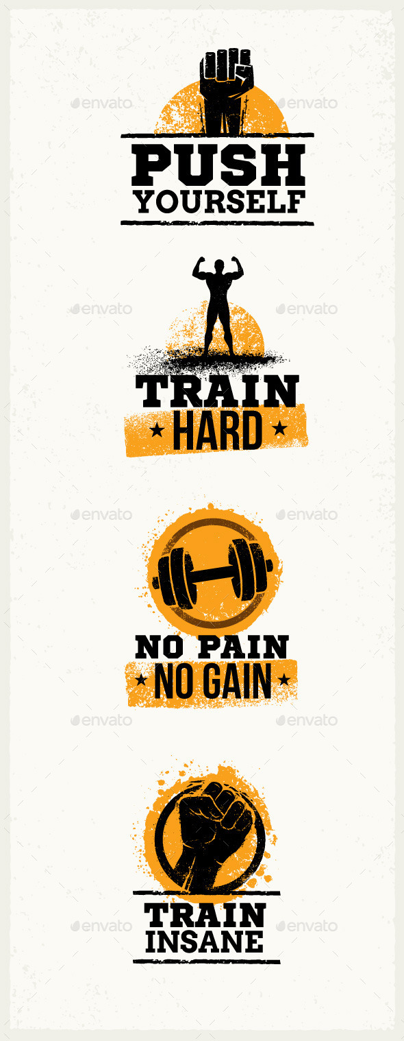 Gym Workout Grunge Motivation Quotes - Sports/Activity Conceptual