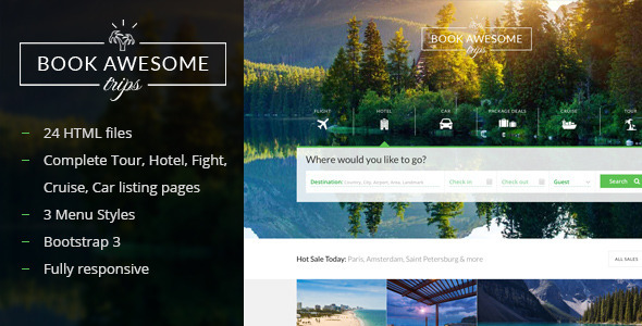 Book Awesome Trip - Travel Booking Site Template - Travel Retail
