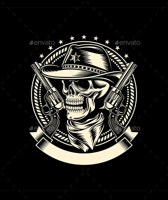 Cowboy Skull with Handguns - Tattoos Vectors