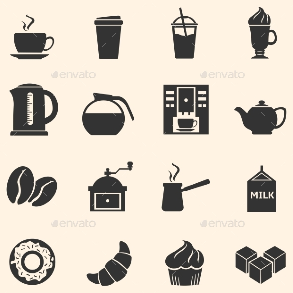 Vector Set of Coffee Icons. Icons for Coffee Shop. - Food Objects