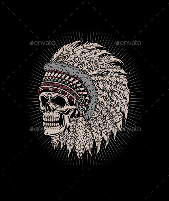 Native American Indian Chief Skull - Tattoos Vectors