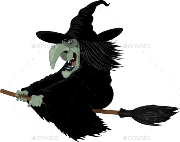 Witch on a Broomstick - Halloween Seasons/Holidays