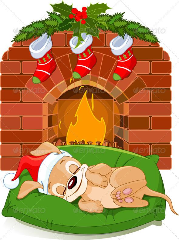 Christmas puppy near fireplace - Christmas Seasons/Holidays