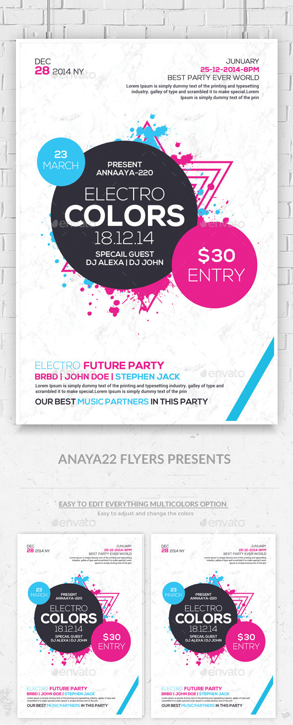 Minimal Futuristic Psd Flyer Templates - Clubs & Parties Events