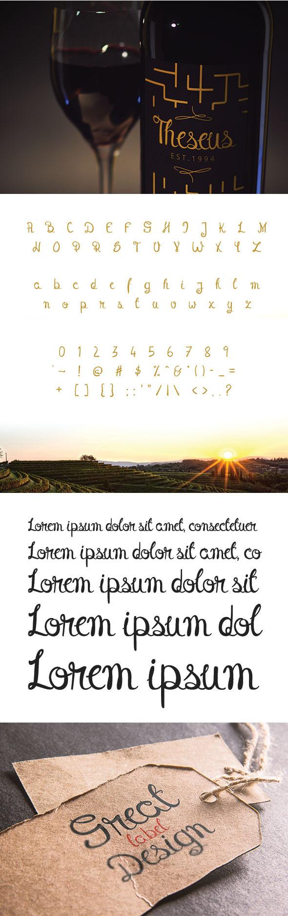Theseus Font - Script Fonts