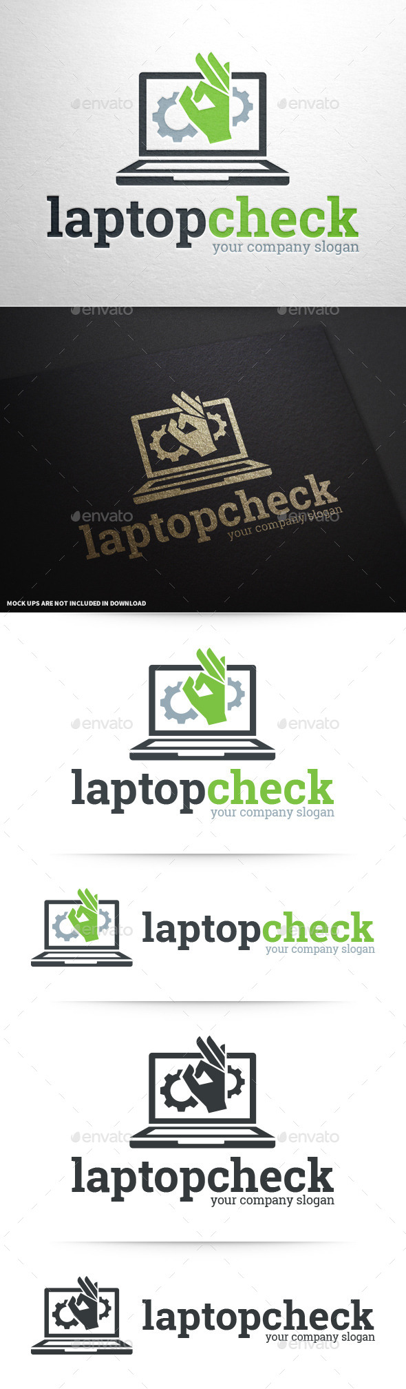 Laptop Check Logo Template - Objects Logo Templates