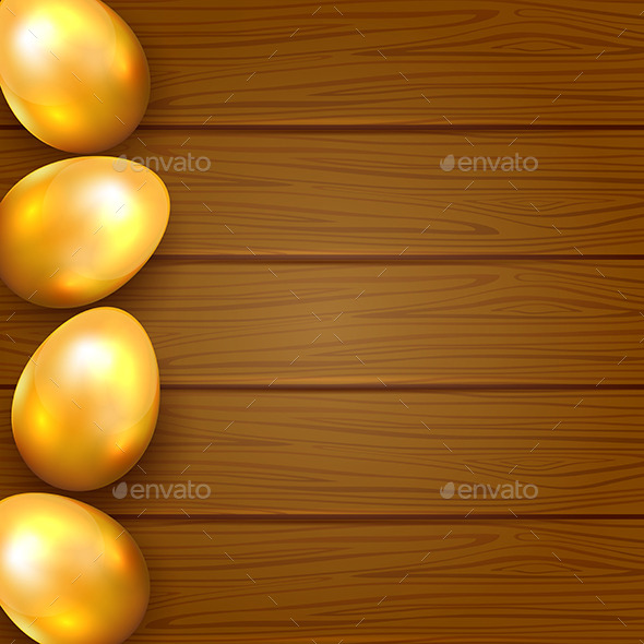 Golden Eggs on Wooden Background - Backgrounds Decorative