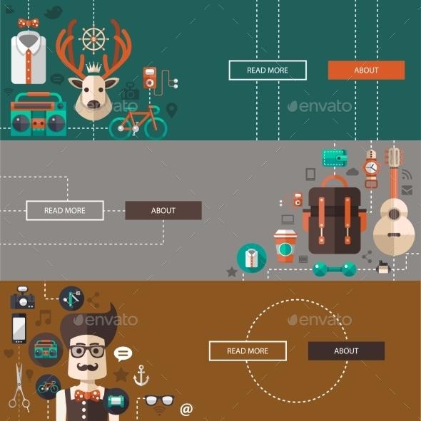 Set of Modern Hipster Illustrations - Backgrounds Decorative