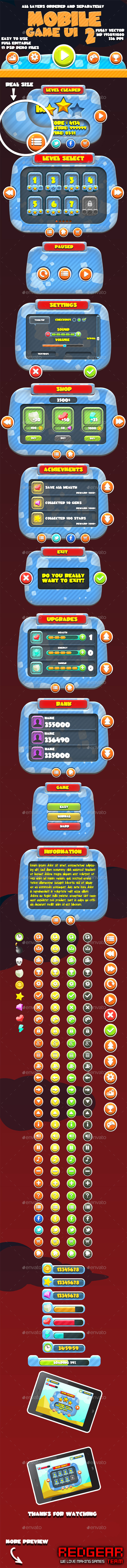 Mobile Game UI Pack #2 - User Interfaces Game Assets