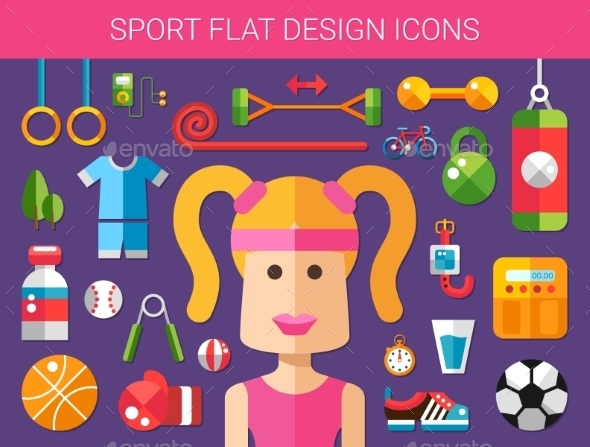 Set of Modern Sport and Wellness Icons - Sports/Activity Conceptual