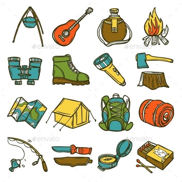 Camping Icon Set - Nature Conceptual