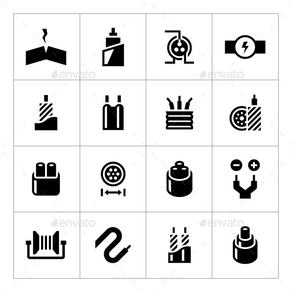 Set Icons of Cables and Wires - Man-made objects Objects