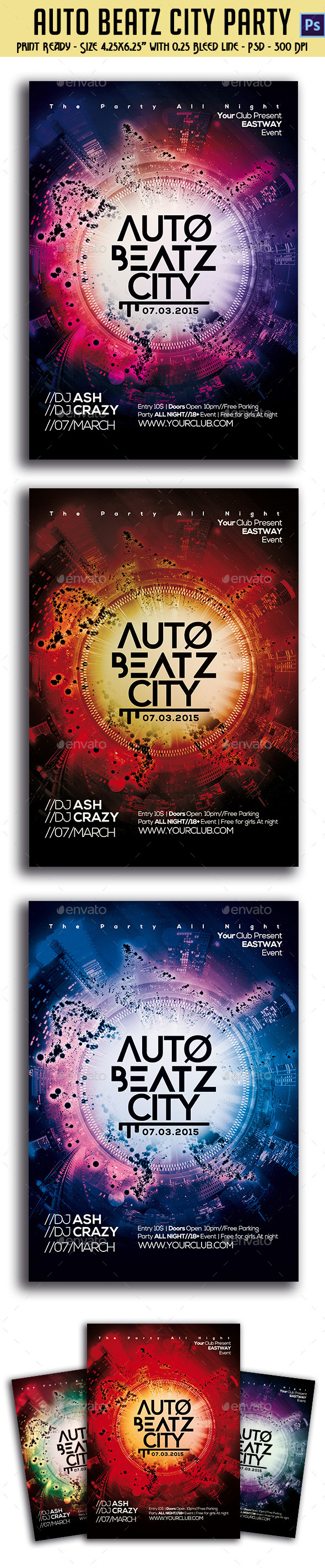 Auto Beatz City Party Template - Clubs & Parties Events