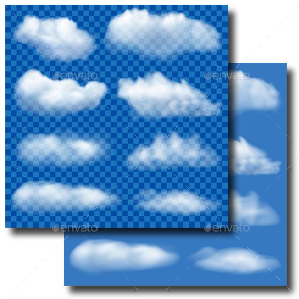 Set of Transparent Clouds - Nature Conceptual