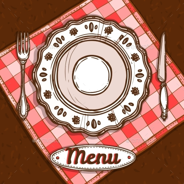 Menu With Porcelain Plate - Food Objects