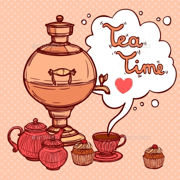 Tea Background With Samovar - Food Objects