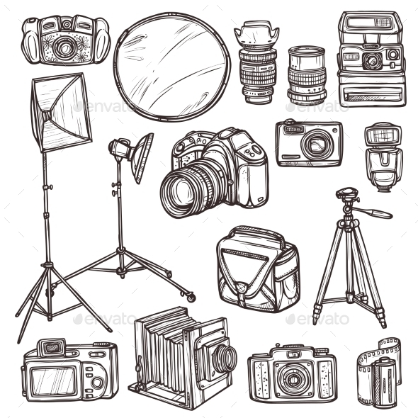 Camera Icons Set - Technology Conceptual