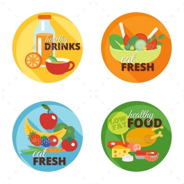 Healthy Eating Flat Icons - Food Objects