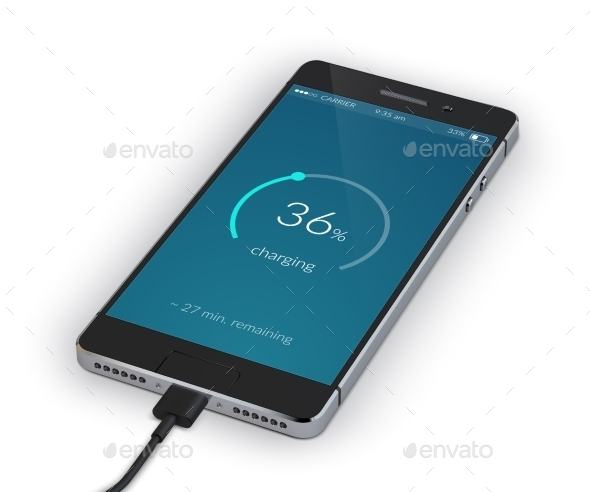 Smartphone Charging Isolated - Technology Conceptual