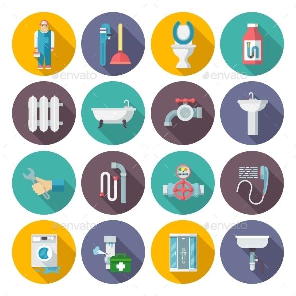 Plumbing Icons Set - Web Technology