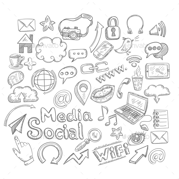 Doodle Social Icons - Communications Technology