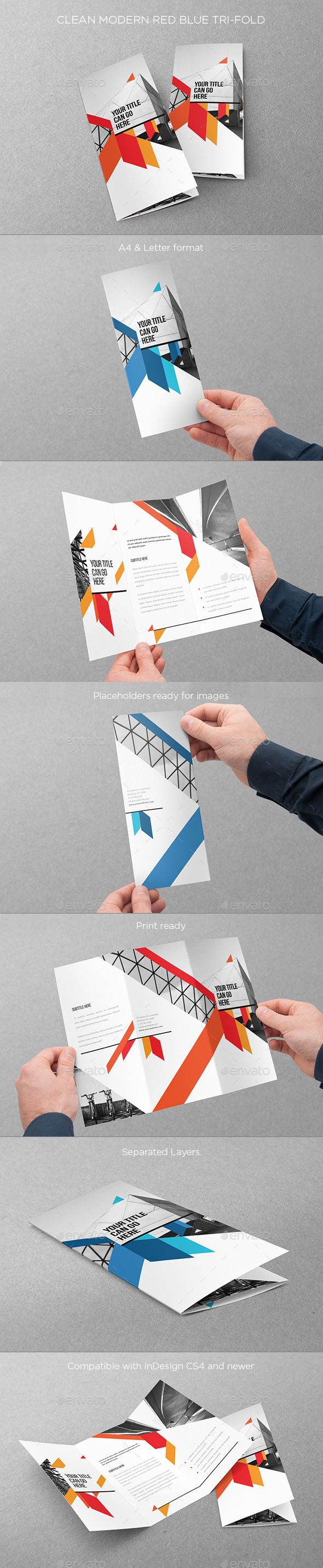 Clean Modern Red Blue Trifold - Brochures Print Templates