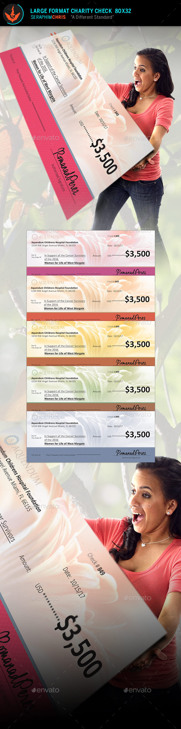 Large Format Charity Check Template 2 - Signage Print Templates