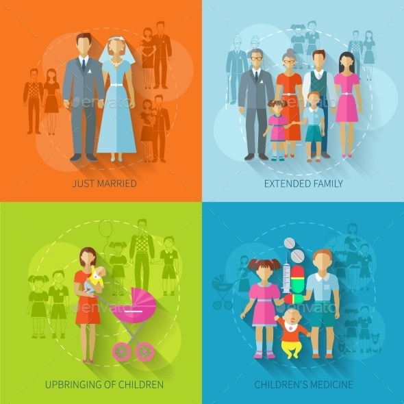 Family Icon Flat - People Characters