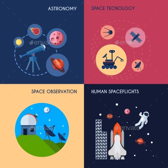 Space Icons Flat - Technology Conceptual