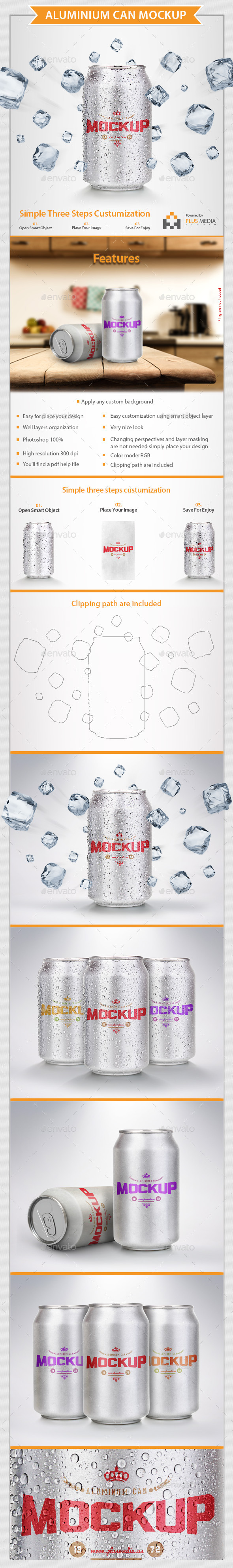 Aluminium Can Mock-Up - Food and Drink Packaging