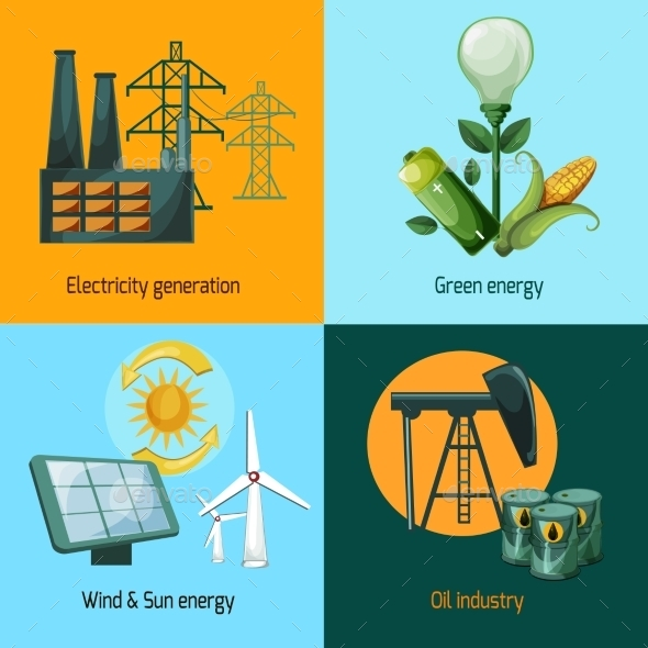 Energy Icon Set - Industries Business