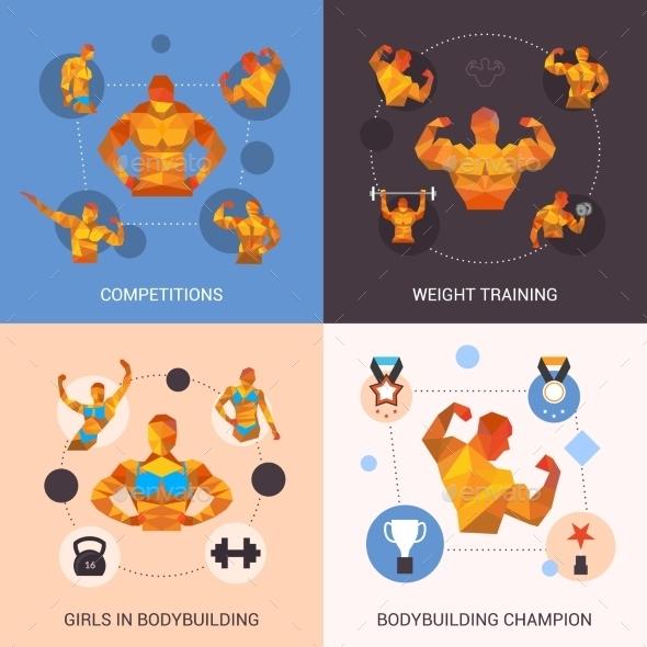 Bodybuilding Polygonal Set - Sports/Activity Conceptual