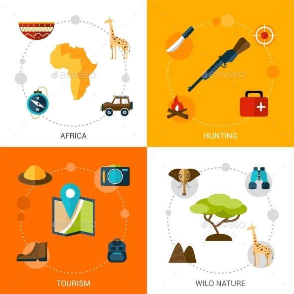 Safari Icons Set - Travel Conceptual