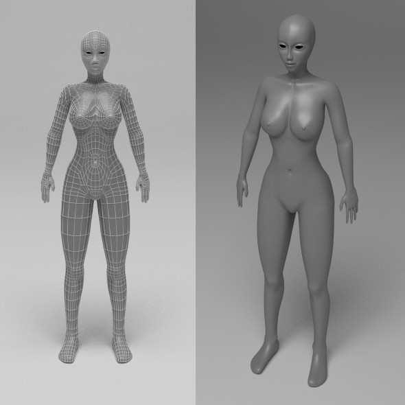 Female Base Mesh Low Poly - 3DOcean Item for Sale