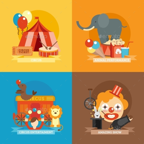 Circus Flat Set - Miscellaneous Vectors