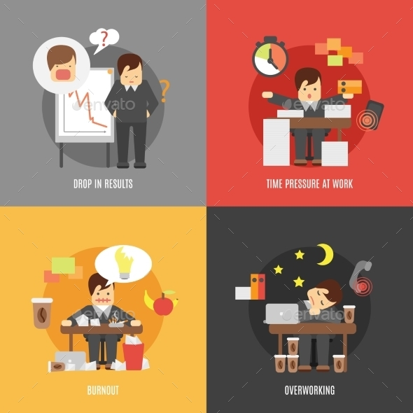 Stress at Work Concepts  - People Characters
