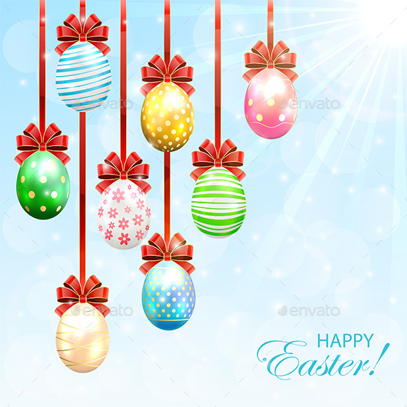 Hanging Easter Eggs with Bow - Backgrounds Decorative