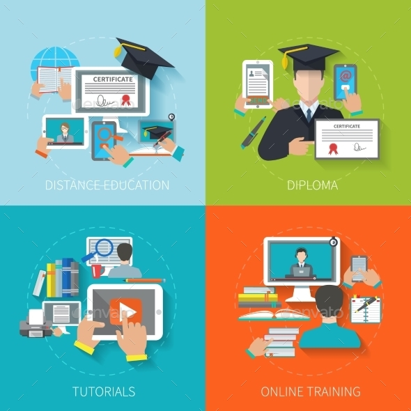 Online Education Flat - Technology Conceptual