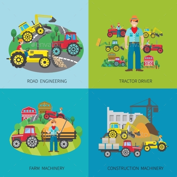 Tractor Driver Flat Set - Technology Conceptual