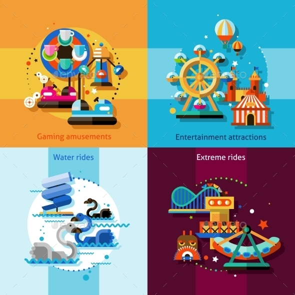 Amusement Design Concept Set - Miscellaneous Vectors